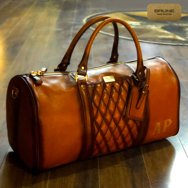 Manmade Tan Leather Diamond Stitched Duffle Bag with Name Initials AP by Brune