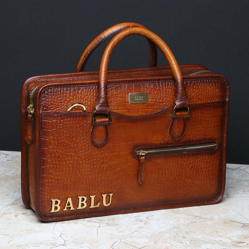 Leather Laptop Bag Crafted With BABLU Name Initial by Brune