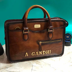 Personalized Tan Leather Laptop Bag with Name Initials A GANDHI by Brune