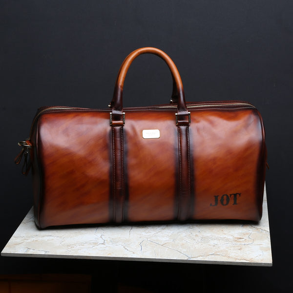 Bespoked JOT Name Initials On Tan Leather Duffle Bag by Brune & Bareskin