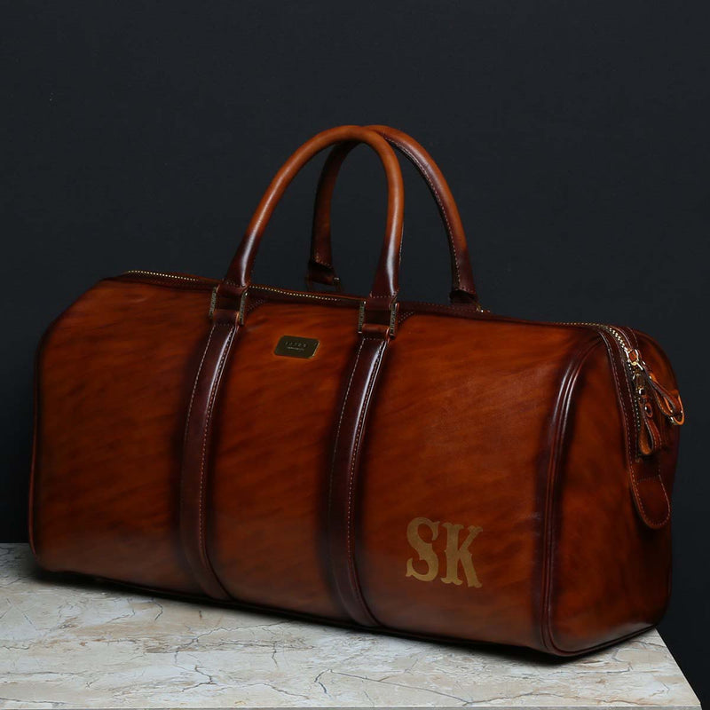 SK Name Initials on Handmade Tan Leather Duffle Bag by Brune
