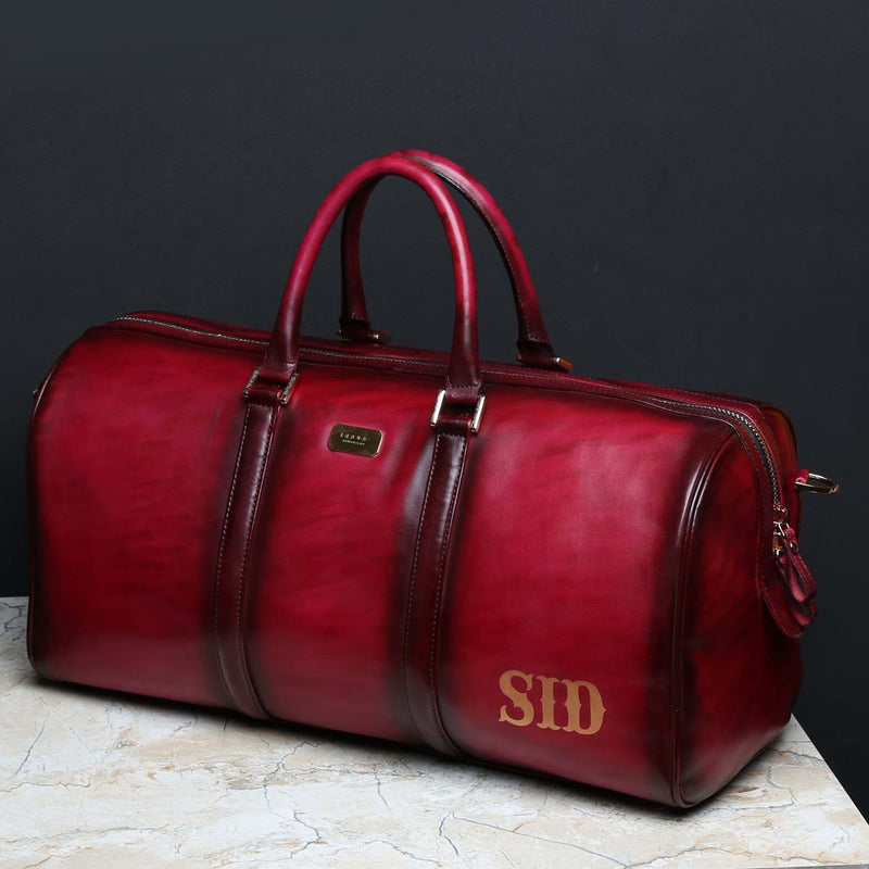 Custom-made Cherry Leather Duffle Bag with Name Initials SID by Brune