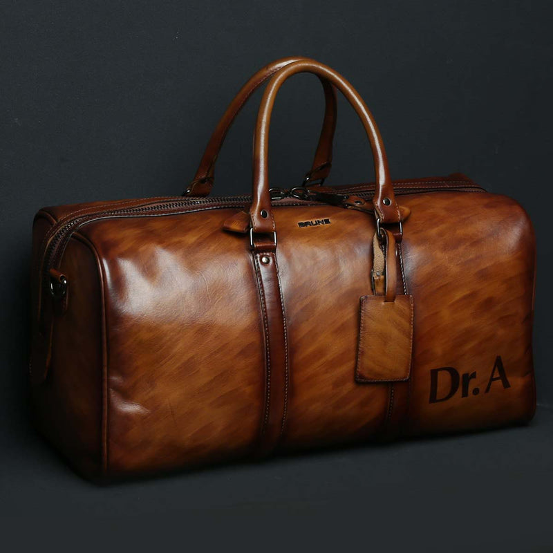 Customized Tan Leather Duffle Bag with Handpainted Your Name Initials by Brune
