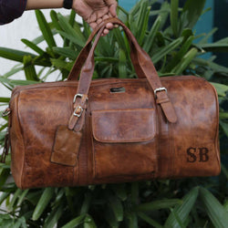 Handcrafted Duffle Bag of Tan Leather with SB Name Initials by Brune