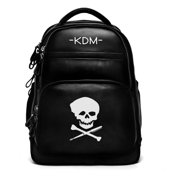 Black Leather Silver Zip Custom KDM Backpack by BRUNE