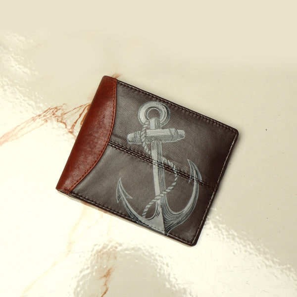 Hand Painted Anchor Sign Brown Leather Wallet by Brune & Bareskin