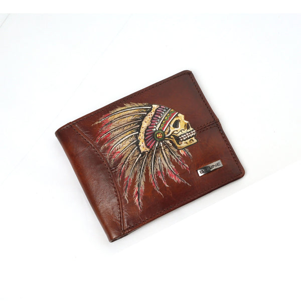 Hand Painted Tribal Skull On Tan Leather Wallet by Brune & Bareskin