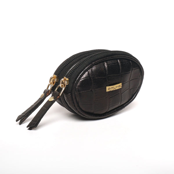 Black Deep Cut Croco Oval Shape With Metalic Zipper Coin Purse By Brune