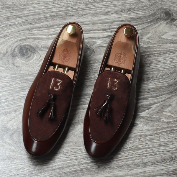 Dark Brown Glossy/Suede Leather Apron Toe Tassel Slip - On Shoes With Initials By Brune