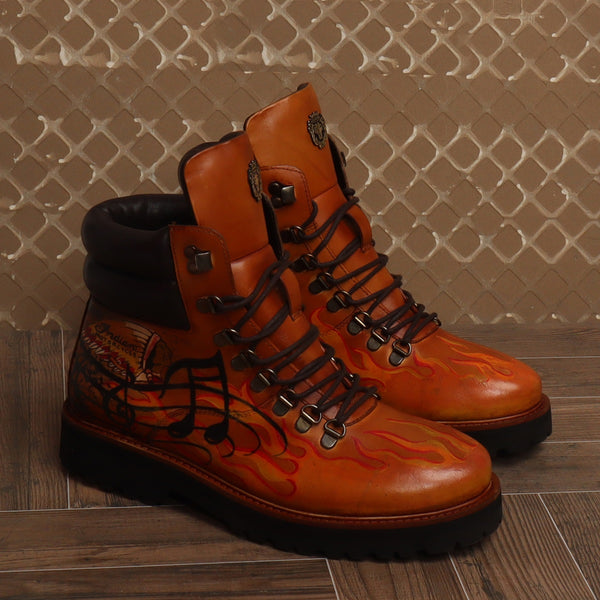 Bespoked Tan Leather Hand Painted Lace-Up Boots by Brune & Bareskin