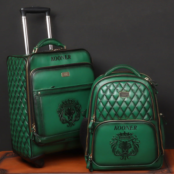 Customised Combo of Green Leather Trolly Bag & Backpack With Initials KOONER by Brune