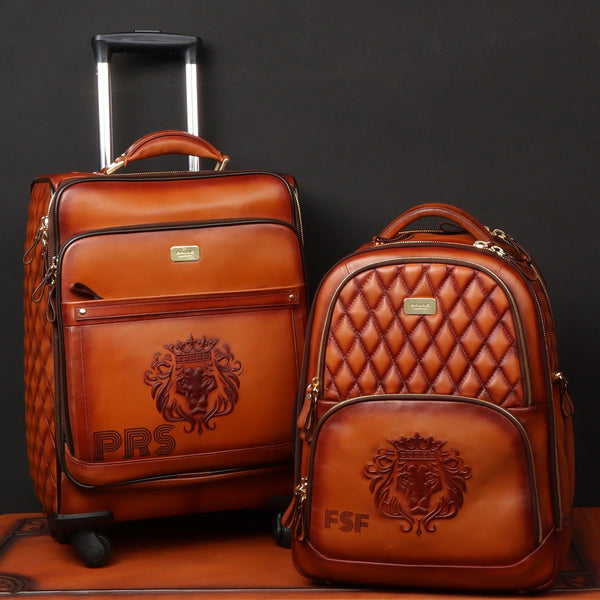 Custommade Combo of Trolly Bag & Backpack of Tan Leather with Initials PRS/FSF by Brune