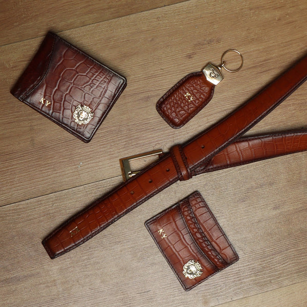 Customised Tan Leather Wallet, Cardholder, Belt, Keychain by Brune & Bareskin