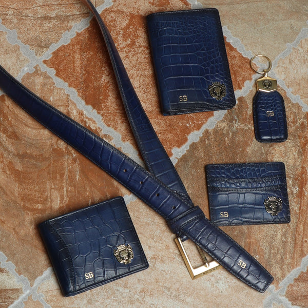Blue Croco Leather Customized Products by Brune & Bareskin