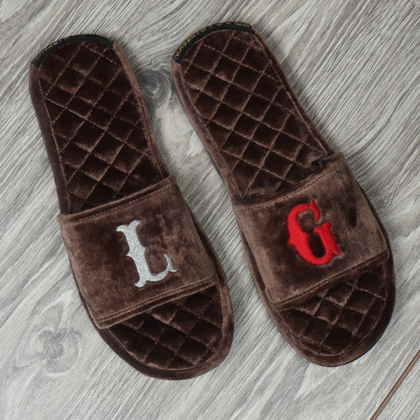 Brown Full Quilted Stitched Super Soft Italian Velvet With Embroidered Initials Slide-in Slippers By Bareskin