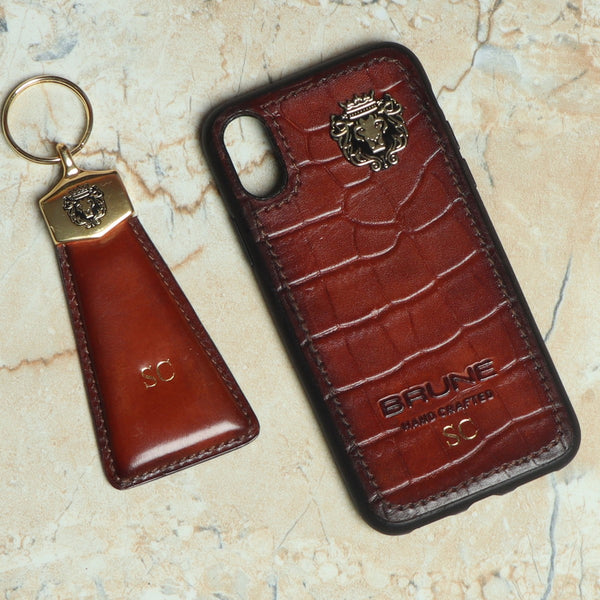 Personalised Deepcut Tan Leather Mobile Cover & Key Chain by Brune & Bareskin