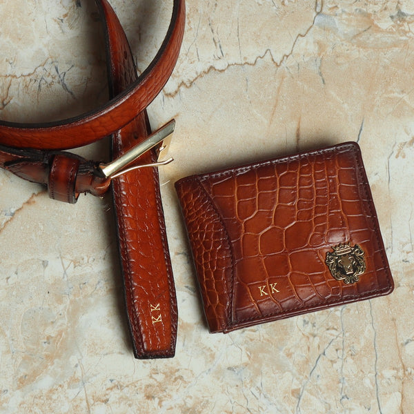 Handcrafted Tan Deep Cut Croco Leather Wallet & Belt Combo by Brune & Bareskin