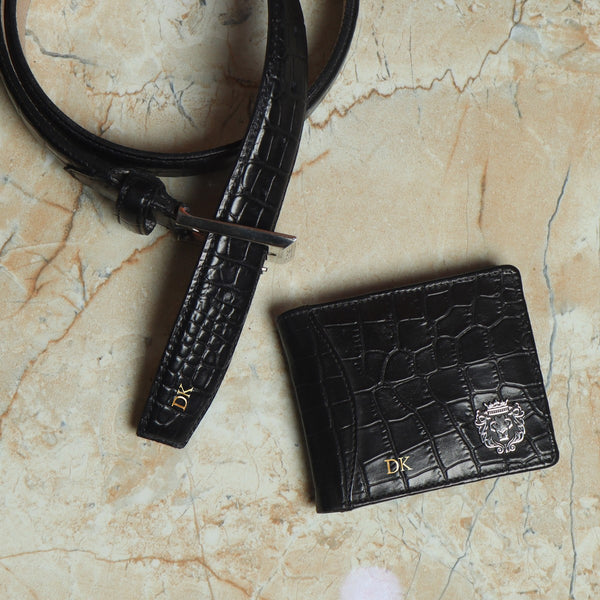 Handcrafted Deep Cut Black Croco Leather Wallet & Belt Combo by Brune & Bareskin