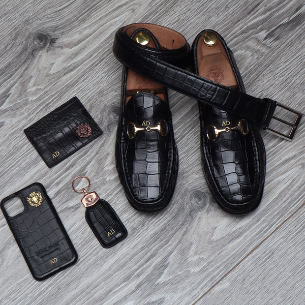 Combo of 5 Deep Cut Croco Leather Products by BRUNE & BARESKIN