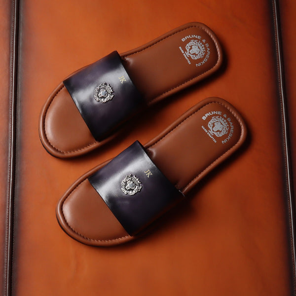 Tan-Grey Customized Slide-In-Slippers with Lion Logo by Brune & Bareskin