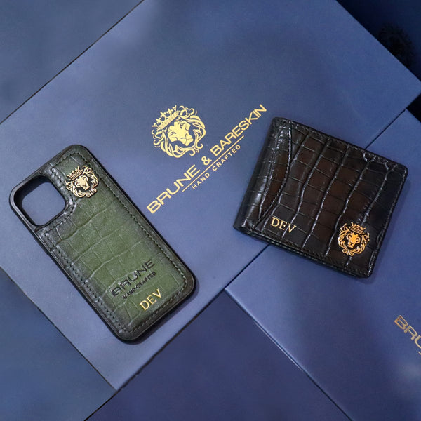 Customised Green Mobile Cover & Black Wallet In Deep Cut Croco Leather by BRUNE & BARESKIN