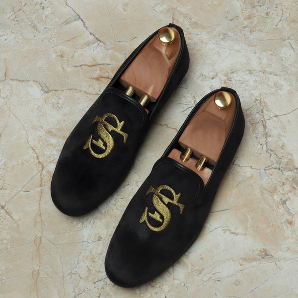 ST Initials Handcrafted Black Italian Velvet Slip-On by Brune & Bareskin