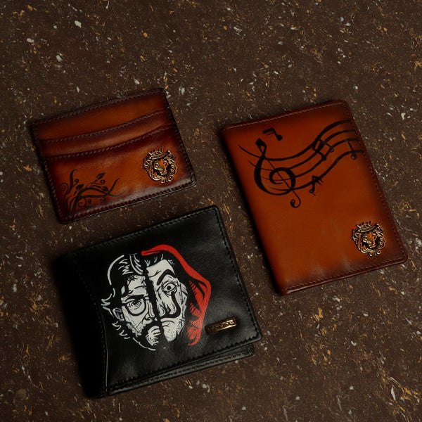Hand Painted Tan-Black Leather Wallet, Passport & Card Holder by Brune & Bareskin