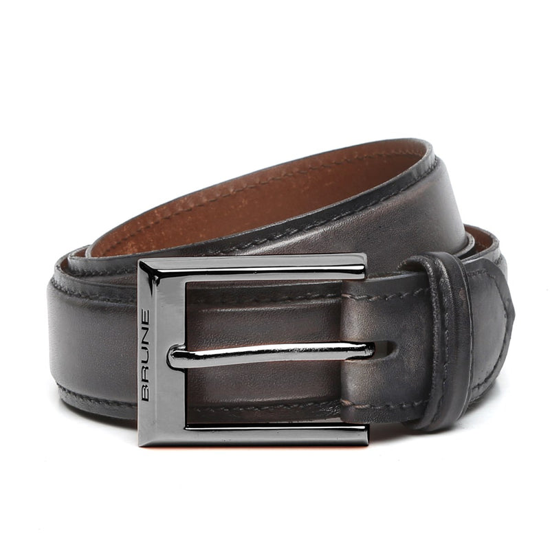 Grey Leather Gunmetal Finish Buckle Belts By Brune With Tarun Initials