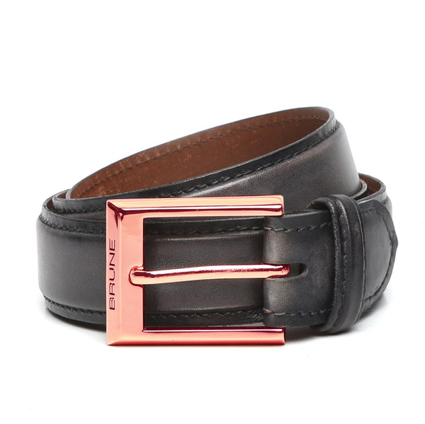 Grey Leather Rose Gold Finish Buckle Belts By Brune