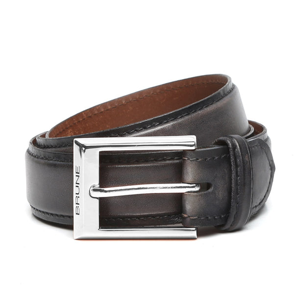 Grey Leather Silver Finish Buckle Belts By Brune