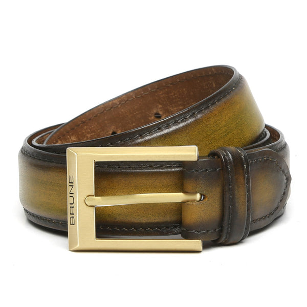 Brune Olive Green With Golden Mat Buckle Hand Painted Leather Formal Belt For Men
