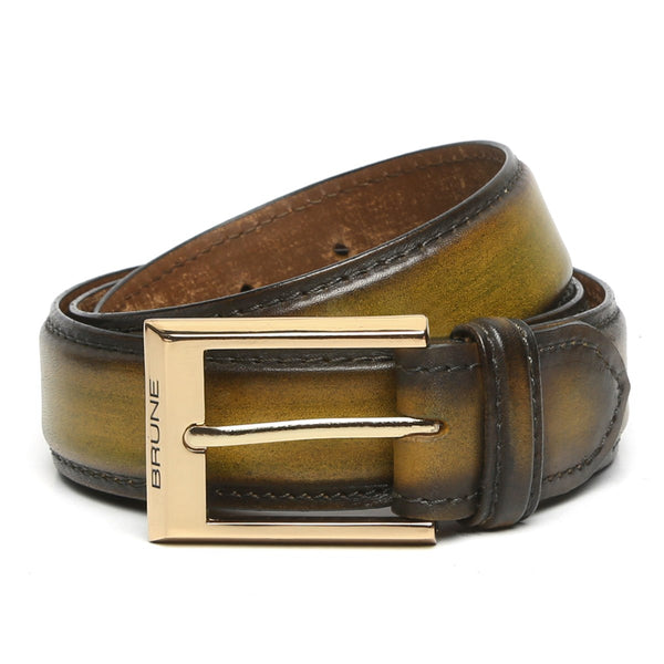 Brune Olive Green With Golden Buckle Hand Painted Leather Formal Belt For Men
