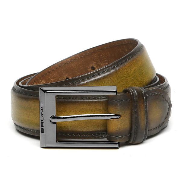 Brune Olive Green With Gun Metal Buckle Hand Painted Leather Formal Belt For Men