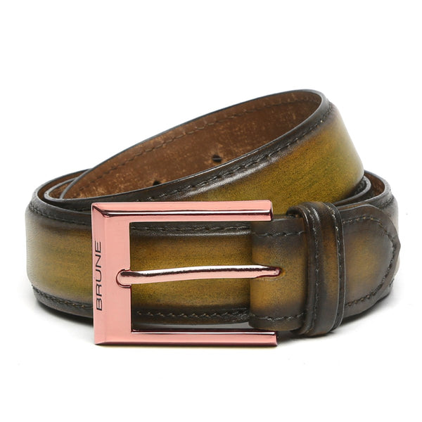 Brune Olive Green With Rose Gold Buckle Hand Painted Leather Formal Belt For Men