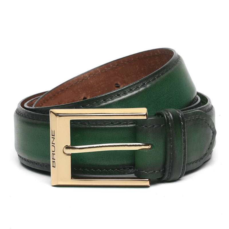 Green Leather Gold Finish Buckle Belts By Brune