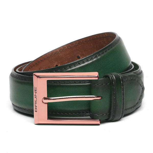 Green Leather Rose Gold Finish Buckle Belts By Brune