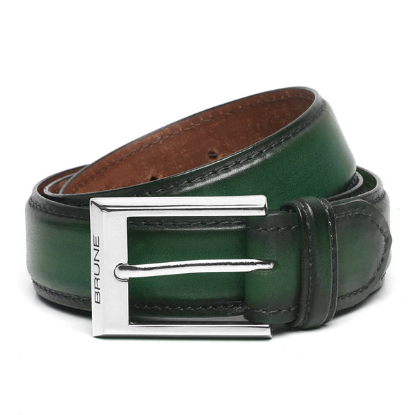Green Leather Silver Finish Buckle Belts By Brune