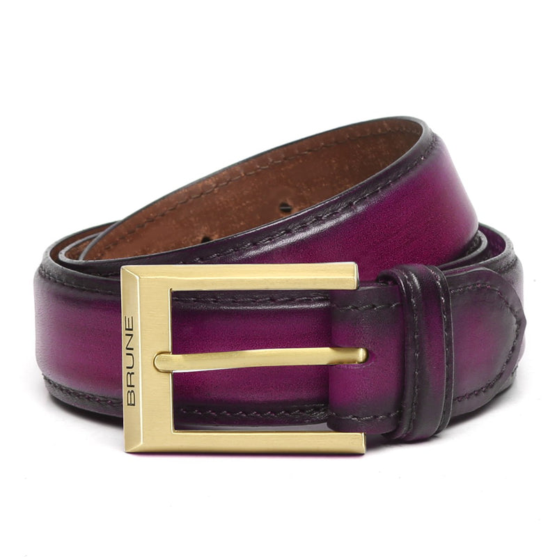 Purple Leather Matte Gold Finish Buckle Belts By Brune