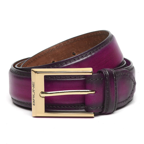 Purple Leather Gold Finish Buckle Belts By Brune