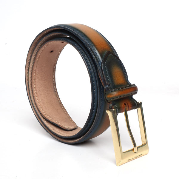 Brune Blue and Yellow With Golden Square Buckle Hand Painted Leather Formal Belt For Men