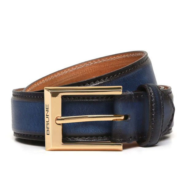 Brune Royal Blue With Golden Mat Square Buckle Hand Painted Leather Formal Belt For Men
