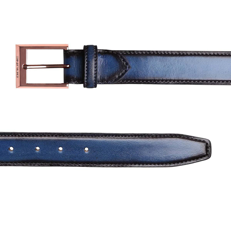 Brune Royal Blue With Rose Gold Square Buckle Hand Painted Leather Formal Belt For Men