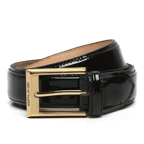 Black Patent Leather Gold Finish Buckle Belts By Brune