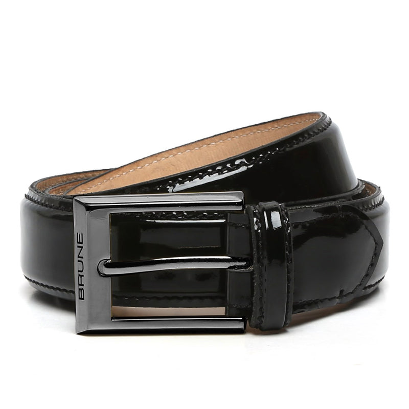 Black Patent Leather Gunmetal Finish Buckle Belts By Brune