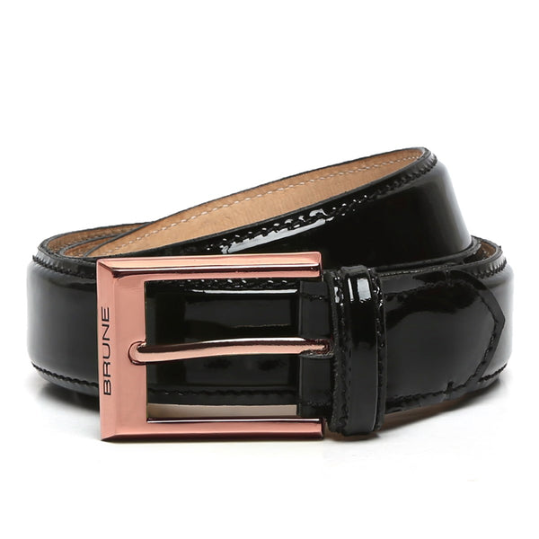 Black Patent Leather Rose Gold Finish Buckle Belts By Brune