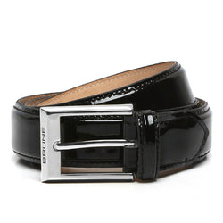 Black Patent Leather Silver Finish Buckle Belts By Brune