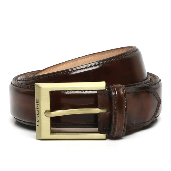 Brown Patent Leather Matte Gold Finish Buckle Belts By Brune