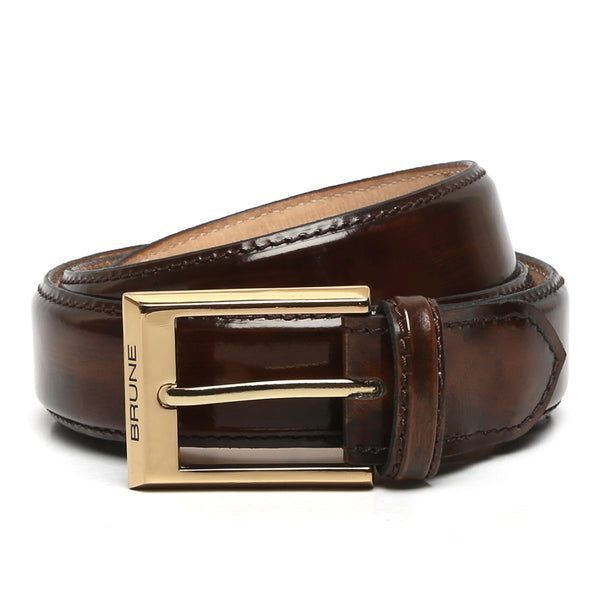 Brown Patent Leather Gold Finish Buckle Belts By Brune