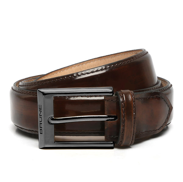 Brown Patent Leather Gunmetal Finish Buckle Belts By Brune
