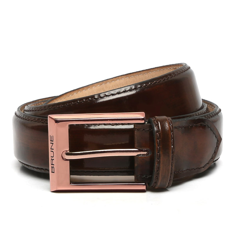 Brown Patent Leather Rose Gold Finish Buckle Belts By Brune